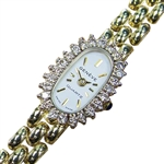 *Geneve Quartz 14K Gold Swiss made Diamond Classic Watch for Ladies -P-
