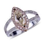 Est. Value 6.3K - 10.5K *14 kt. White/Rose Gold, 1.28CT Marquise Cut Diamond And 0.37CT Diamond Ring